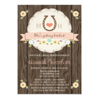 BLUSH MONOGRAMMED HORSESHOE WESTERN BRIDAL SHOWER CARD