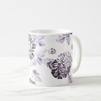 Blush Mulberry & White Vintage Floral Toile No.2 Coffee Mug