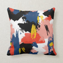 Blush Navy Blue & Black Watercolor Brushstrokes Throw Pillow