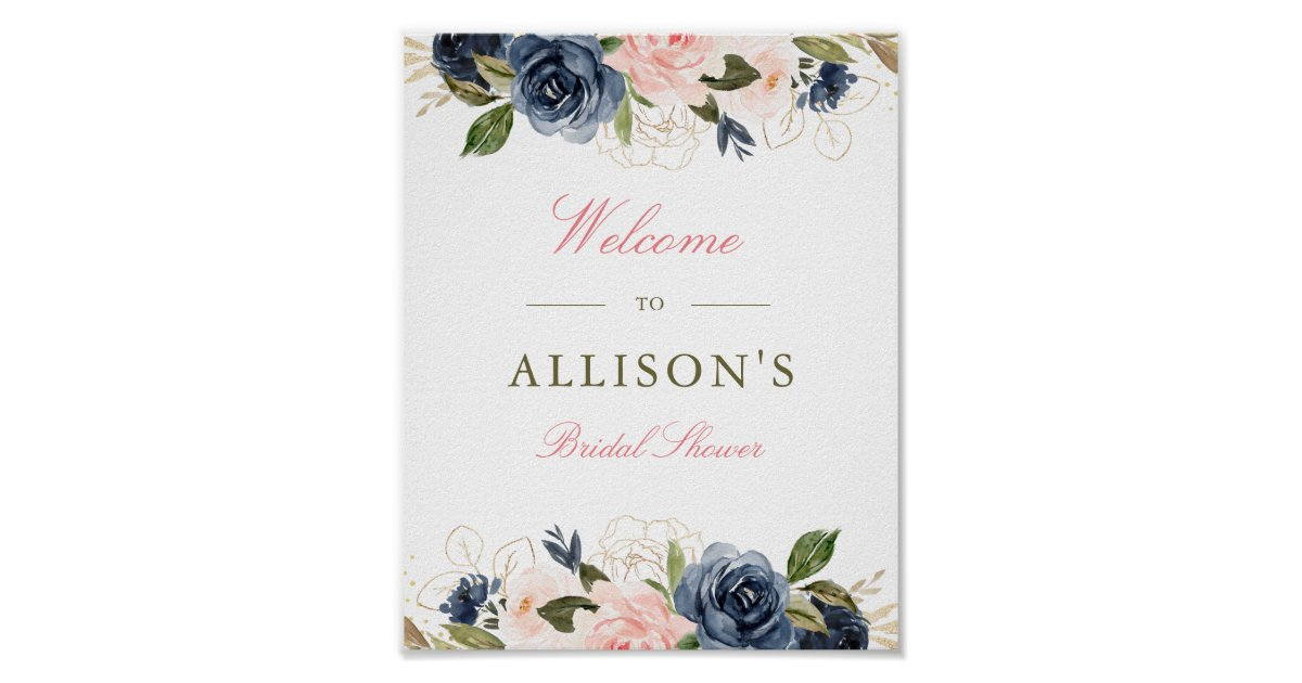 Burgundy Floral Welcome Sign Marsala Navy Bridal Shower Welcome Sign Welcome Bridal Shower Sign Large Welcome Sign W57