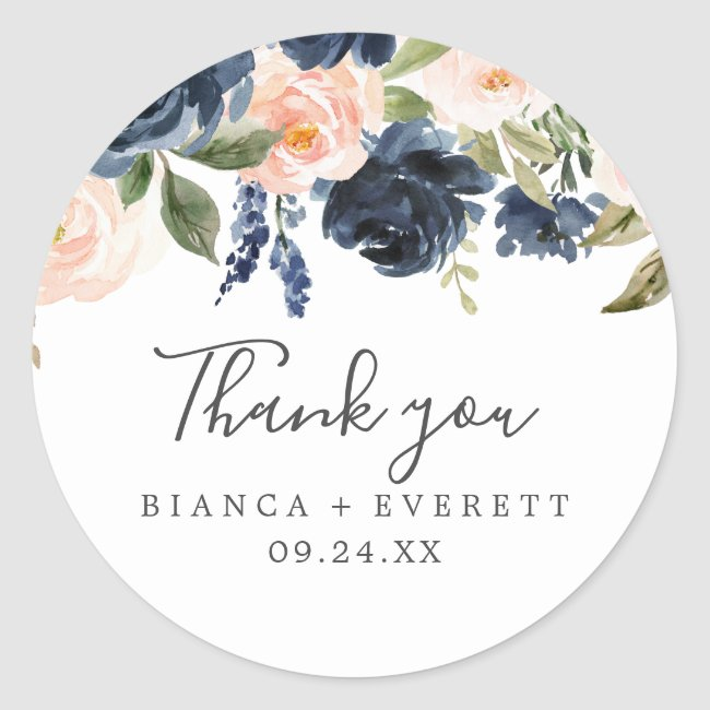 Blush & Navy Flowers White Thank You Favor Sticker