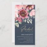 BLUSH NAVY RED ROSE FLORAL BRIDAL SHOWER INVITE