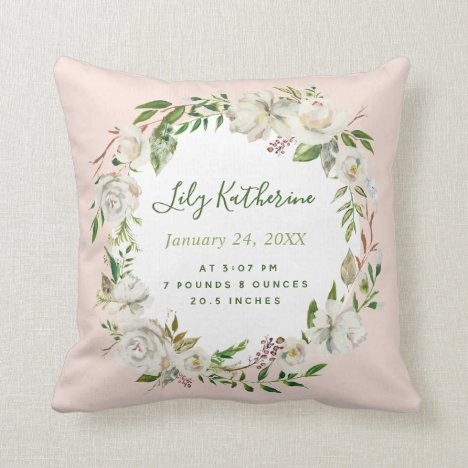Blush Painted Floral Baby Girl Birth Stats Throw Pillow