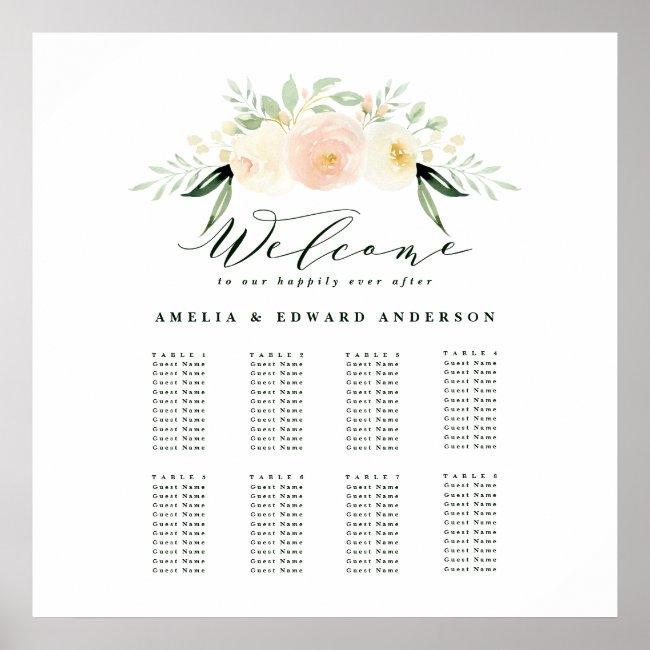 Blush, peach floral + foliage wedding seating plan poster