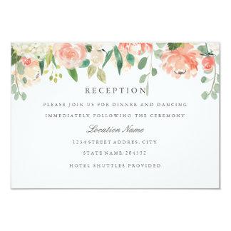 Blush Peach Watercolor Floral Wedding Reception Card