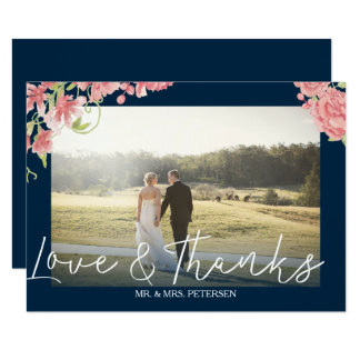 Blush peonies white navy wedding photo thank you card