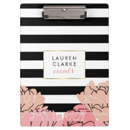 Blush Peony and Black Stripe Clipboard