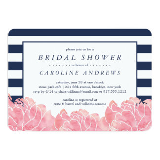 Blush Peony and Navy Stripe Bridal Shower Card