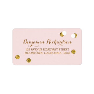 blush pink address labels with glitter confetti