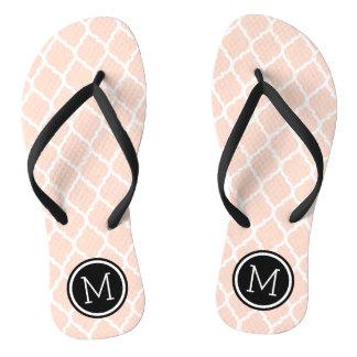 Blush Pink and Black Moroccan Quatrefoil Monogram Flip Flops