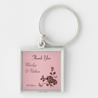 Blush Pink and Brown Floral Premium Wedding Favor Silver-Colored Square Keychain