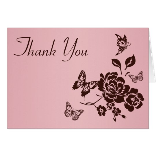 Blush Pink and Brown Floral Thank You Card