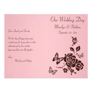 Blush Pink and Brown Floral Wedding Program