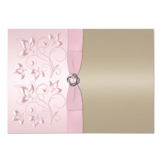 Blush Pink and Champagne Floral Invitation