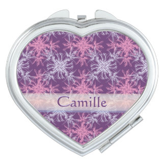 Blush Pink and Dusty Purple Damask Custom Mirror For Makeup