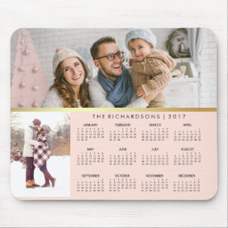 Blush Pink and Faux Gold 2017 Photo Calendar Mouse Pad