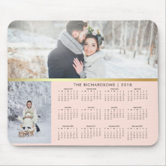 Blush Pink and Faux Gold 2018 Photo Calendar Mouse Pad