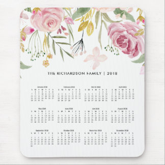 Blush Pink and Faux Gold Flowers | 2018 Calendar Mouse Pad