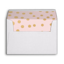Blush pink and faux gold foil dots 5x7 envelope