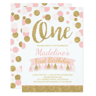 Blush Pink And Gold 1st Birthday Invitation
