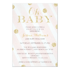 Blush Pink And Gold Baby Shower Invitations at Zazzle