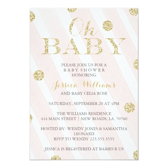 Good Blush Pink And Gold Baby Shower Invitations