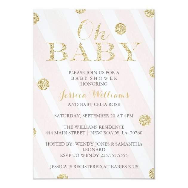 Gold And Pink Baby Shower Invitations for awesome invitations template