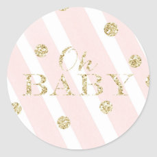 Blush Pink and Gold Baby Shower | Oh Baby Classic Round Sticker