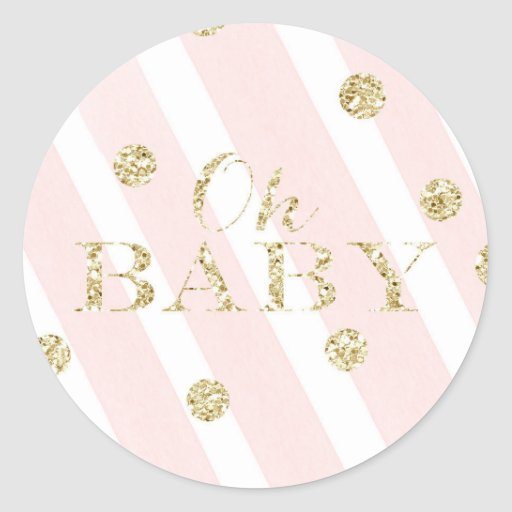 Blush Pink and Gold Baby Shower   Oh Baby Classic Round Sticker