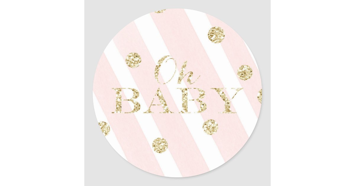 Blush Pink And Gold Baby Shower Oh Baby Classic Round