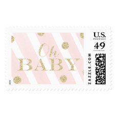 Blush Pink and Gold Baby Shower | Oh Baby Postage
