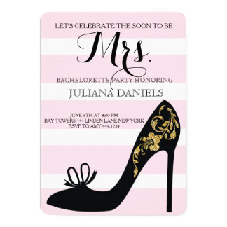 Blush Pink and Gold Bachelorette Party Invitations