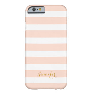 Blush Pink and Gold Classic Stripes Monogram Barely There iPhone 6 Case