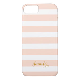 Blush Pink and Gold Classic Stripes Monogram iPhone 8/7 Case