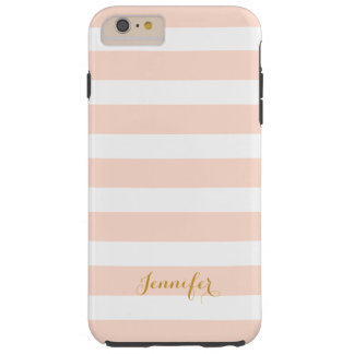 Blush Pink and Gold Classic Stripes Monogram Tough iPhone 6 Plus Case