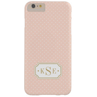 Blush Pink and Gold Elegant Dots Monogram Barely There iPhone 6 Plus Case