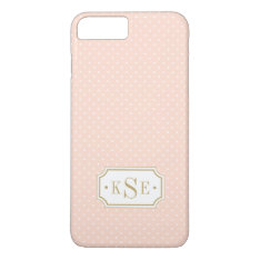 Blush Pink And Gold Elegant Dots Monogram Iphone 7 Plus Case at Zazzle