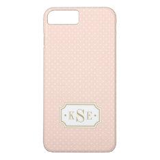 Blush Pink And Gold Elegant Dots Monogram Iphone 8 Plus/7 Plus Case at Zazzle