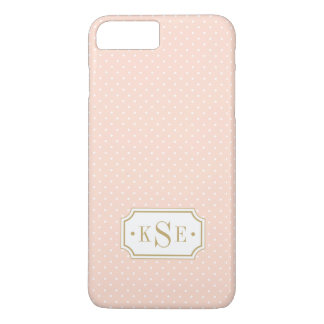 Blush Pink and Gold Elegant Dots Monogram iPhone 8 Plus/7 Plus Case