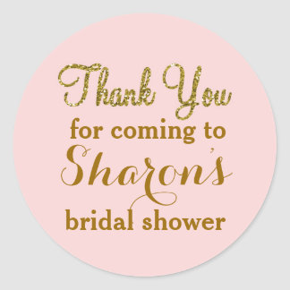 Blush pink and gold Favor Tag Stickers