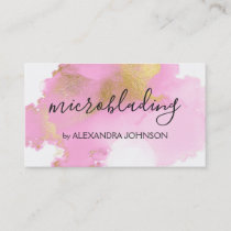 Blush Pink and Gold Foil Wash Girly Business Card