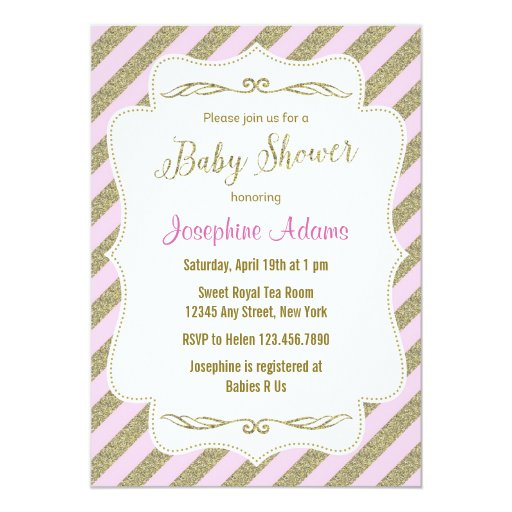 blush pink and gold glitter baby shower invitation zazzle