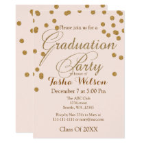 Blush Pink and Gold Glitter Graduation Invite