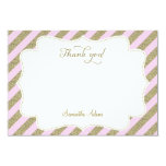 Blush Pink and Gold Glitter Thank You Card