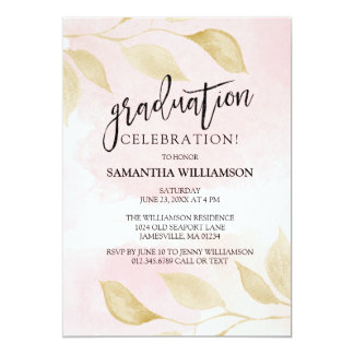 Blush Pink and Gold Graduation Party Invitations