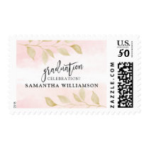 Blush Pink and Gold Graduation Party Postage