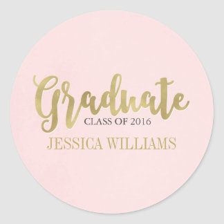 Blush Pink and Gold Luxury Graduation Stickers