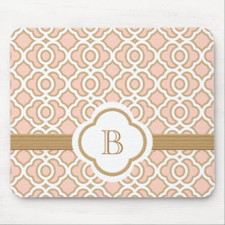 Blush Pink and Gold Moroccan Monogrammed Mouse Pad