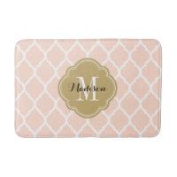 Blush Pink and Gold Moroccan Quatrefoil Monogram Bathroom Mat