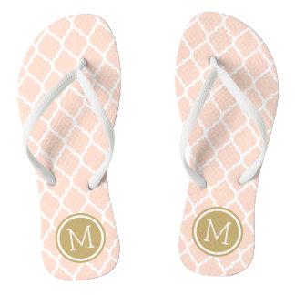 Blush Pink and Gold Moroccan Quatrefoil Monogram Flip Flops